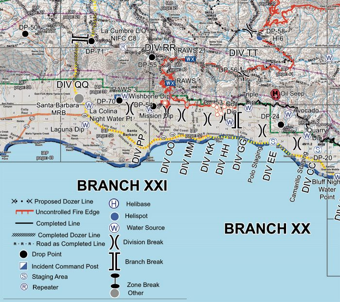 A map of the coastline near the City of Santa Barbara CA showing where firefighting resources will be deployed to attack a the Thomas fire.