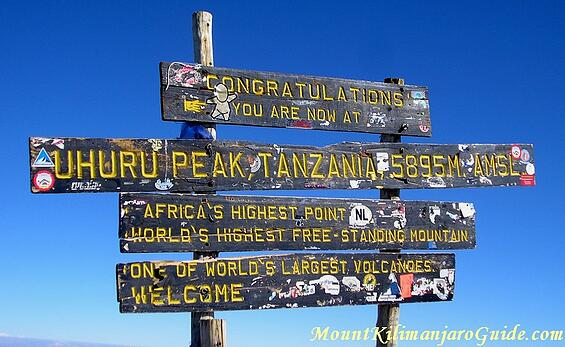 "Worn wooden sign with 3 horizontal planks carved with yellow painted words. The top plank reads, ""UHURU Peak Tanzania, 5895M. AMSL."" The middle one reads, ""Africa's Highest Point. World's Highest Free-Standing Mountain."" The bottom one reads, ""One Of The World's Largest Volcanoes. Welcome."" People have placed a variety of stickers on the sign."