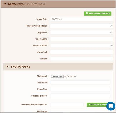 screen shot of cwildnote rm photo log form