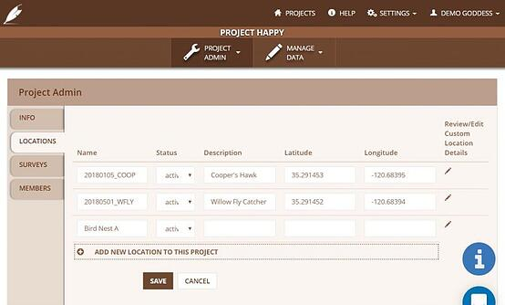 screen shot of wildnote web app showing project locations populated with bird nest information