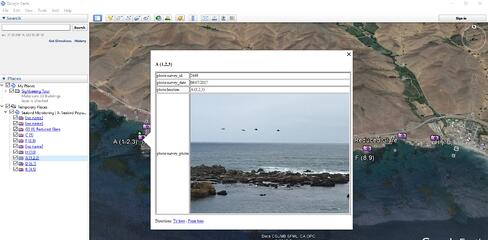 Screenshot of a Wildnote KML report in Google Earth showing a specific image along with the photo id, date, and location.