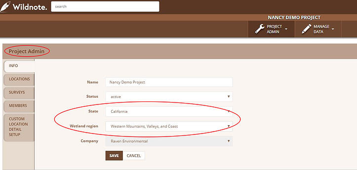Screenshot of Wildnote web app showing project admin info tab with state and wetland region drop down menus which integrate with new taxonomy lists.