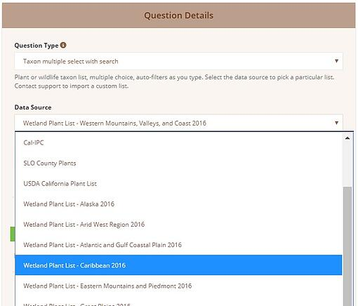 Screenshot of Wildnote web app survey form creation showing addition of 15 different taxonomy lists.