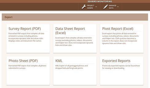 Screenshot of the Wildnote export dashboard showing five different export types including Survey Report, Data Sheet Report, Pivot Report, Photo Sheet, and KML.