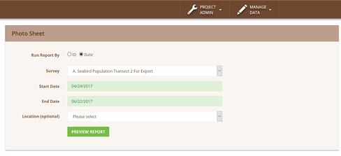 Screenshot of Photo Sheet PDF report options showing survey type, start date, end date and location.