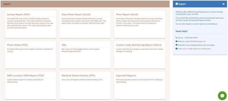 screenshot of Wildnote's web app export page.